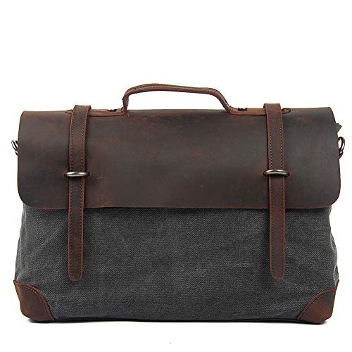 15b2c93d206ce TENSKY Messenger Satchel Bag for Men and Women Vintage Canvas Real Leather  15