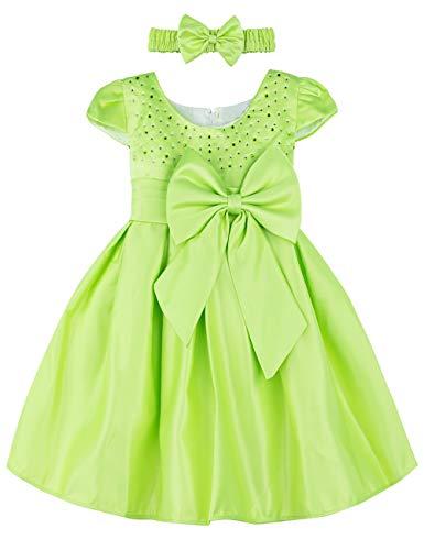 A&J Design Baby Mädchen Prinzessin Kleid Festlich Hochzeit Partykleid mit Stirnband (Grün, 18-24 Monate) (Kleid Designs Für Kinder)