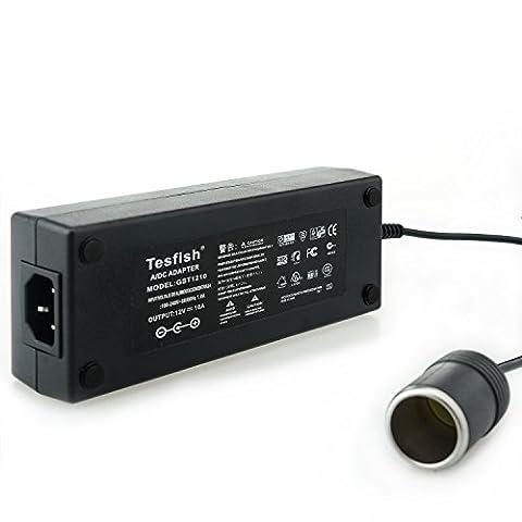 Tesfish 10A 120W Convertisseur de puissance 110-240V AC à 12V DC Adaptateur d'alimentation Car Cigarette Lighter Socket Alimentation