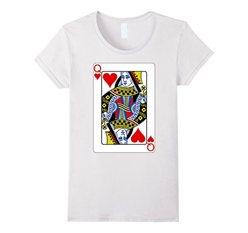 Card Playing Costume Queen (Playing Card Queen of Hearts T-Shirt Valentine's Day Costume Damen, Größe L)