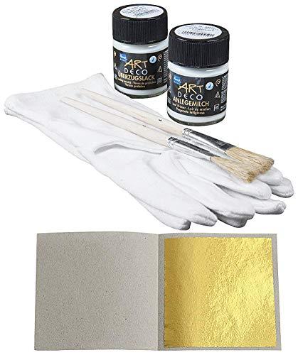 Starterset 100 Blatt Blattgold (Imit.) Schlagmetall 4,8 cm x 4,8 cm zum Vergolden + 1 x Anlegemilch 50ml + 1 x Überzugslack 50ml + 1 Paar Vergolderhandschuhe + 2 Pinsel