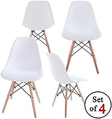 Chaises Design Set de Sillas, Polipropileno y Madera de Haya, Blanco, 53x47x82 cm, 4 Unidades