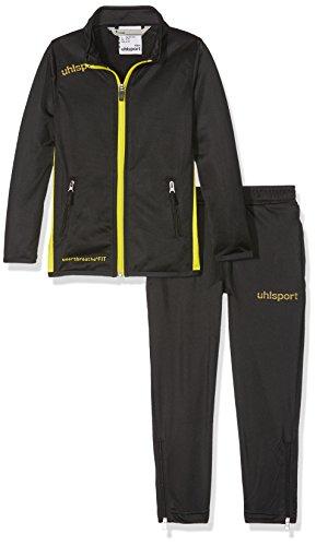 uhlsport Essential Classic Anzug Kinder Trainingsanzug, schwarz/limonengelb, 140 -