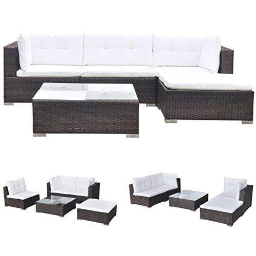 Vidaxl divano da esterno set 14 pz in polirattan marrone sofa giardino patio