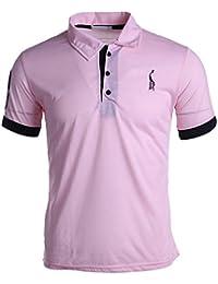 AIMEE7 Homme Polo Shirts Manche Courte Sport Décontracté Personnalité T-Shirt Tops (Bleu, 3XL)