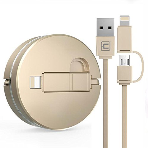2 in 1 Einziehbares USB-Kabel für Apple IOS / Android, Cuitan 1m Retractable Datenkabel Ladekabel Charging Cable Lightning Kabel Aufladekabel für iPhone 7, 7plus, 6s Plus, 6s, 6, 6 Plus, 5s, iPad mini, iPad air, Samsung S7, S7 Edge, S6, S6 Edge, HTC, LG - Gold(Stil 1) (Usb Retractable Cable Lightning)