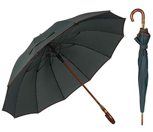 AP® - Automatik Regenschirm für Damen und Herren - eleganter Stockschirm aus Holz - 12 fache Verstrebung aus Carbon Fiber - groß, stabil & windresistent - 115cm Durchmesser (Schwarzgrün)
