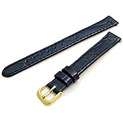 Genuine Leather Watch Strap Flat Crocodile Grain 12mm Blue with Gilt (Gold Colour) Buckle