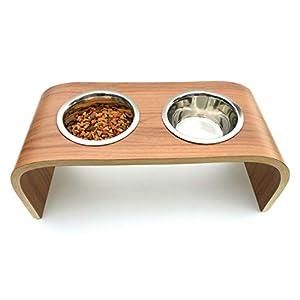 Erhöhte Hundeschüsseln, Hund Fütterung bar, Katze Fütterung station in Walnuss rutschfeste leicht zu reinigen