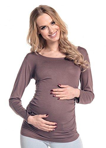 Happy Mama. Femme. Maternité jolie top t-shirt. Haut grossesse tunique. 947p Cappuccino