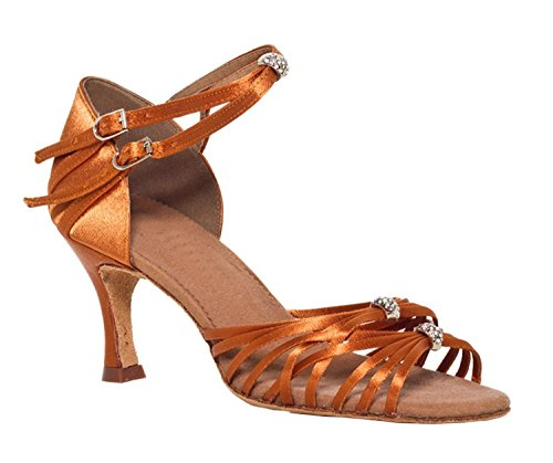 Minitoo femme Effet Satin Tango latine Charater Chaussures de danse Bronze