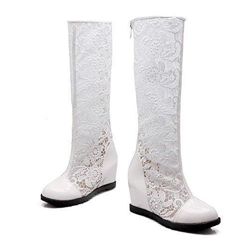 AgooLar Damen Gitterartig Gaze Niedriger Absatz Rund Zehe Stiefel Weiß