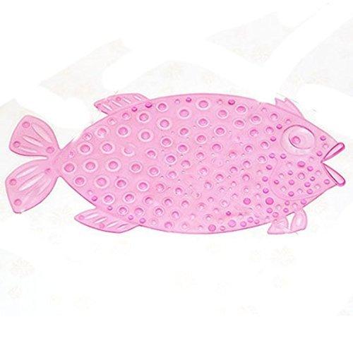 Itian Fisch-Bad Duschmatte mit Rutschfest Anti Skid Saug Sucker, Verbessern Sicher Rate (Rosa)