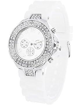 Damenuhr Damen Silikon Armband Uhr Sport Stilvoll Kinderuhr Strass Weiß