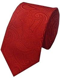 Navaksha Hot Red Micro Fiber Paisley Design Slim Tie