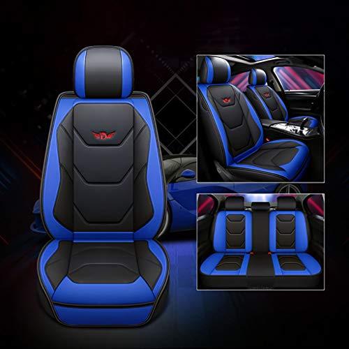 Autositzbezug, Vorne Hinten 5 Sitz Voll Set Universal Leder Seasons Pad Kompatibel Airbag Seat Protectors Wasserdicht. (Farbe : Blau) -