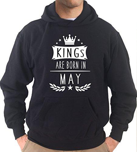 Settantallora - Felpa Con Cappuccio KJ2357 King 's are Born in May Nero