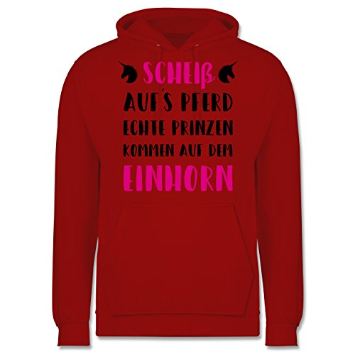 Statement Shirts - Scheiß aufs Pferd echte Prinzen kommen auf dem Einhorn - Männer Premium Kapuzenpullover / Hoodie Rot