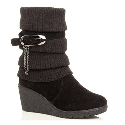 Scarpe da donna tacco medio piattaforma zeppa collare lavorato a maglia stile stivali invernali - Nero, EU 38