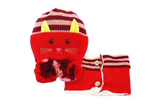 e und Schal Nützliche nette Woll Baby Hat Set Rot ()