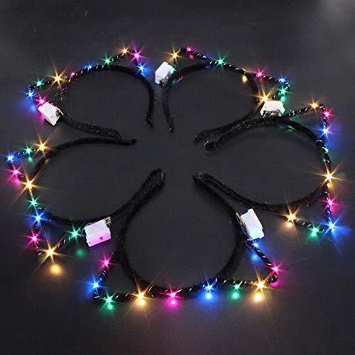 Cuigu Katze Ohr Haarband, LED Leuchten Metallhaarband, Blinkendes Stirnband Glühendes Haarband Headwear-Haarschmuck, Neues Jahr Weihnachtsfest Cosplay Partybedarf, Zufällige Farbe
