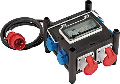 Aus Gummi (Brennenstuhl Kompakter Gummi-Stromverteiler (2 m Kabel, 2x CEE 400V/16A, 5x 230V/16A, Baustelleneinsatz und ständigen Einsatz im Freien, mit FI-Schalter))