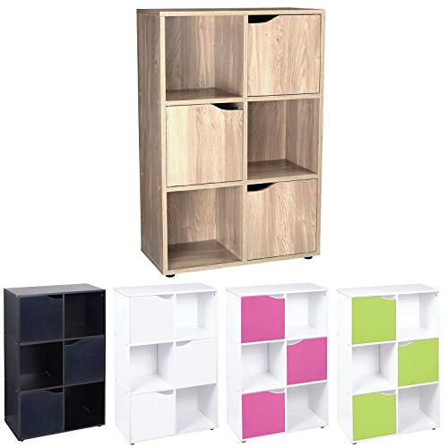 Cube Shelving Unit - Wood Bookcase with Doors - Boys & Girls Bedroom Furniture - ASAB - 6 Cube 3 Door Storage Unit WHITE/PINK