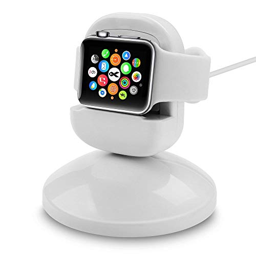 Shopizone Charging Dock & Night Stand for Apple Watch [360 Degree Rotating] Cradle – White