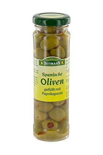 Feinkost Dittmann Oliven grün gefüllt mit Paprikapaste, 85 g