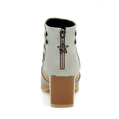 COOLCEPT Damen Mode-Event westlichen Wildleder Blockabsatz Schuhe der spitzen Zehe Reißverschluss Knöchel Stiefel Aprikose