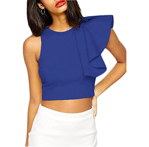 PU&PU Frauen-Causal-Ärmelloses T-Shirt Rundhals-Flouncing Lace Midriff Bluse Solid Color Blue