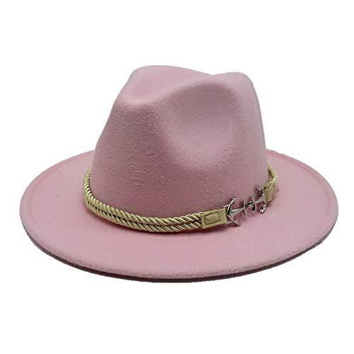 Meipa-Zeit Bequemer beiläufiger Hut fühlte Sich geflochtener Seil-Piraten-Hut der Damenhut mit breiter Krempe Jazz Church Godfather breitkrempiger Hut (Farbe : Rosa, Größe : 56-58CM)