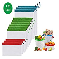Reusable Produce Bags, Washable Mesh Produce Bags for Grocery Shopping Storage Fruit Vegetable Toys