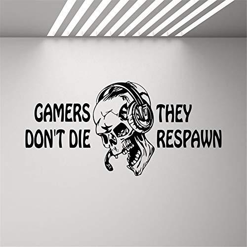 adesivo murale adesivo da parete I giocatori non moriranno They Respawn Video Game Gifts Kids PS4 Xbox Citazione di giochi adesivi Ragazzi Room Playroom