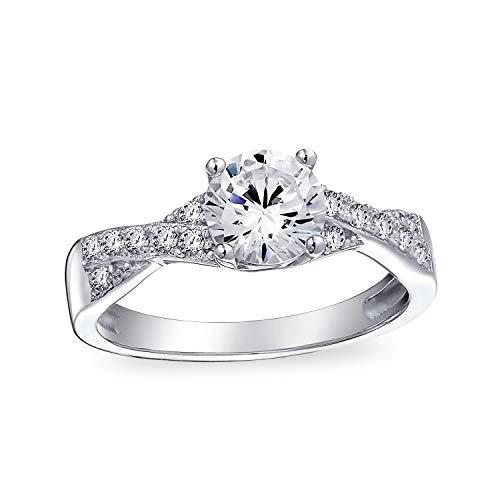 Bling Jewelry Sterling Silber 925 2Ct Solitär AAA Zirkonia Ebnen Cz Twist Criss Cross Unendlichkeit Infinity Verlobungsring Für Damen - 2ct Ring Engagement Cz