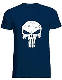 ROBO Camiseta para Hombres Manga Corta Impresión de Cráneo Vintage Camisa Tops Verano, 5 Colores