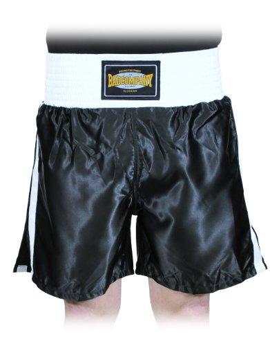 KURZE HOSE Pro Satin Boxer Shorts schwarz / weiß Thaiboxer Hose aus 100 % Polyester, L