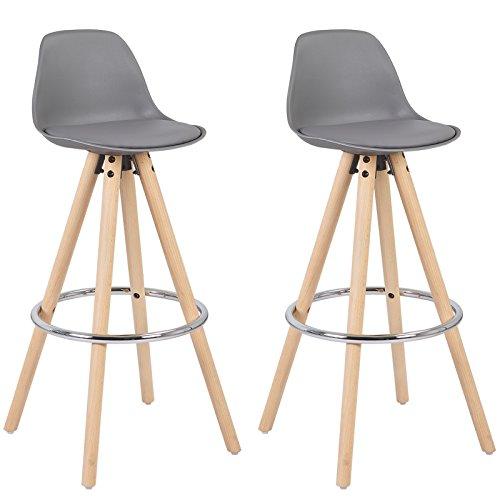 WOLTU® BH45gr-2 2 x Barhocker 2er Set Barstuhl aus Kunststoff Holzgestell mit Lehne + Fußstütze Design Stuhl Küchenstuhl optimal Komfort Grau