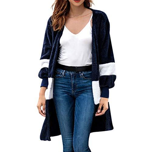 LANWINY Damen Herbst Winter Cardigan Top,Women Lange ÄRmel Solid Color Casual Mantel Pullover Coat Strickjacke Tops