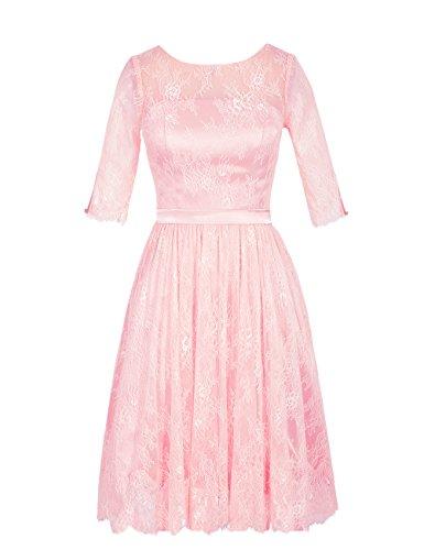 Dresstells Damen 1/2 Ärmel Homecoming Kleider Brautjungfernkleider Mit  Spitze Rosa