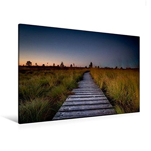 Premium Textil-Leinwand 120 cm x 80 cm quer, Die markanten Stege des Hohen Venns   Wandbild, Bild auf Keilrahmen, Fertigbild auf echter Leinwand, Leinwanddruck (CALVENDO Natur)