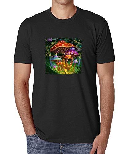 Herren Hallucination Fairy Tail Mushrooms T-Shirt Schwarz -