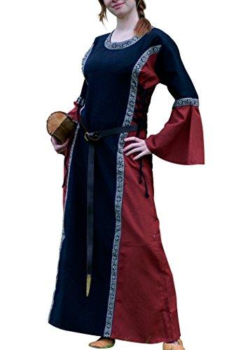 Mittelalter Kleid - Ella mit Bordüre, schwarz/rot aus Baumwolle für Mittelalter, LARP, Wikinger Größe M