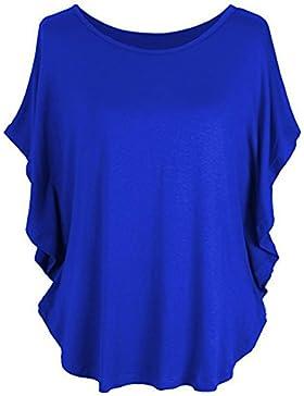 [Sponsorizzato]Rolin Roly Pipistrello MagliettaManicaCorta Donna T-Shirt Sciolto Donna Top Colore Solido Camicie Casual per...