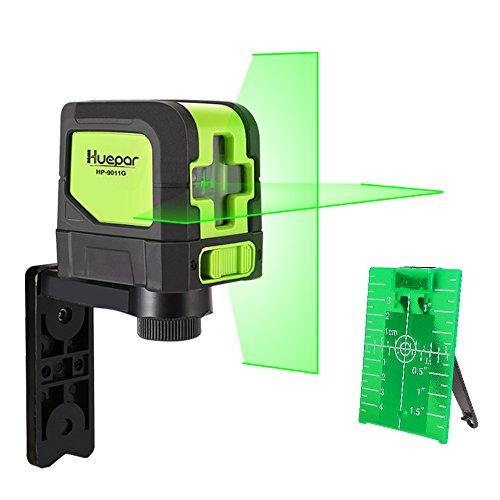 Nivelador de Líneas en Cruz - LEVELSURE 9011G Láser Autonivelante de Verde Línea (Horizontal y Vertical), Precisión de ±0.3 mm/m, Distancia Larga hasta 30m, Incluyendo un Soporte Magnético, Objetivo Magnético y Manual en Español