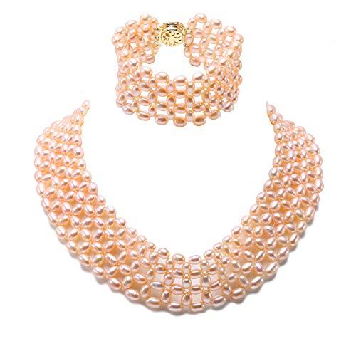 (JYX Pearl  -  Sterling-Silber 925  Legierung Lavender Oval Süßwasser-Zuchtperle   Perle )