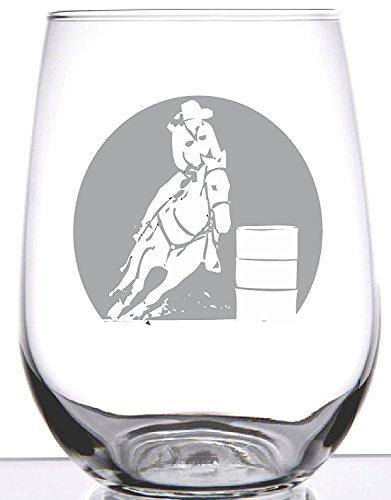 Barrel Racer-Rodeo Collection-17Oz Professionell geätzt Weinglas Weingläser ohne Stiel
