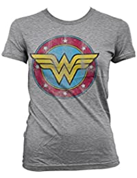 Officially Licensed Merchandise Wonder Woman Distressed Logo Girly Tee