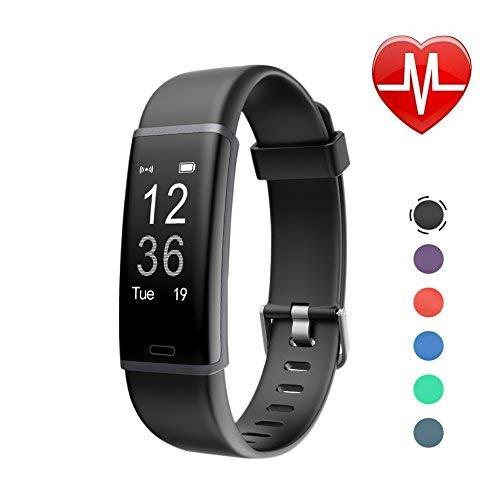 LETSCOM Id130plus Fitness-Herzfrequenz-Monitor, Schrittzähler, Kalorienzähler, Smart-Armband für Kinder, Damen und Herren, Unisex, ID130Plus HR, Schwarz, 17.4 * 8.8 * 1.8cm