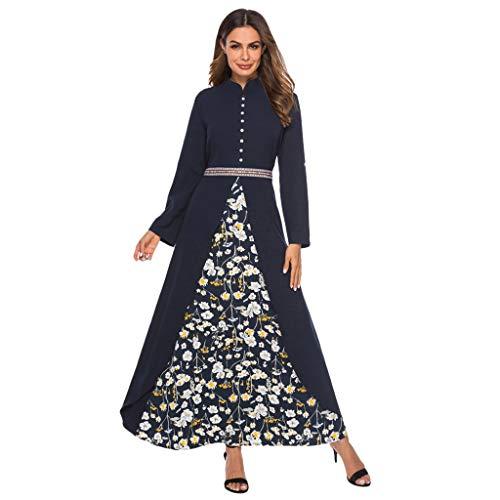 leid Frauen Blumendruck Patchwork Maxi Kleid Taille Gürtel Knopf Dekor Robe Abaya Islamischen Dubai Kaftan Kleid ()